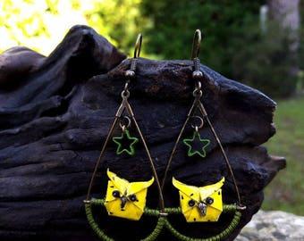 Earrings in origami, owls