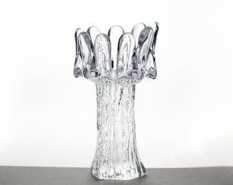 Kosta Boda,  Goran Warff, Sunflower, Glass Candleholder