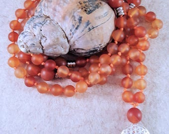 Prayer Chain (Mala) from Carnelian 8 mm and 10 mm and the Flower of life-925 silver