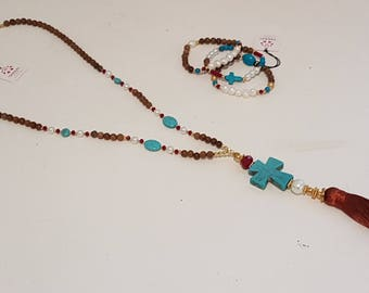 Pearls, Woodgrain, Cross Tassel Necklace, 3 bracelets. Statement Long Boho necklace, cross necklace, Turquoise and pearls necklace, cross