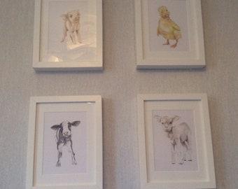 Baby farm animals/ nursery prints/ set of 4 prints/ cow/ lamb/ piglet/ duckling/ watercolor/watercolour painting/ set of prints