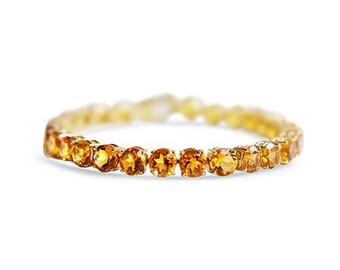 14 Karat Sparkling Citrine Tennis Bracelet