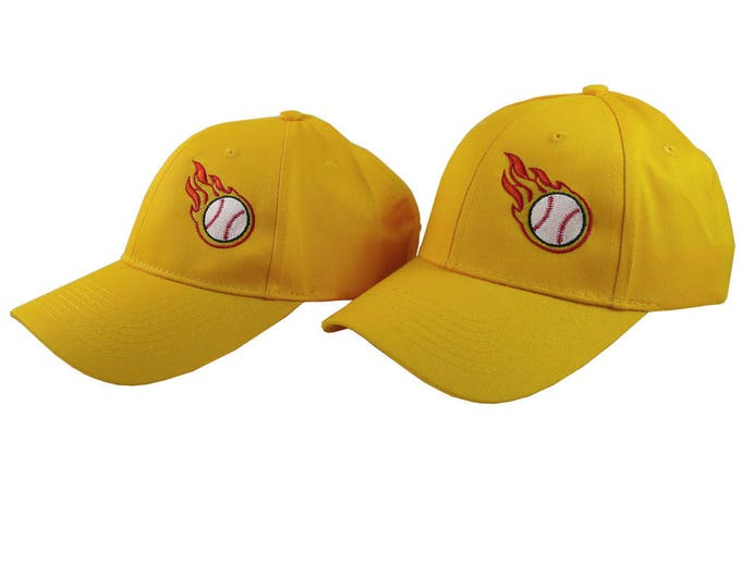 A Pair of Sporty Softball Fire Bullets Embroidery Designs on 2 Sun Yellow Adjustable Structured Baseball Caps for Adult + for Child Age 6-14