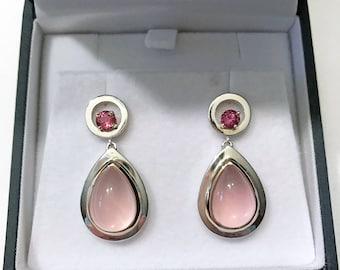 Teardrop rose quartz and spinel drop earrings sterling silver and 14k gold / Rose quartz dangle earrings / Handmade fine jewelry earrings
