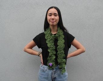 Handmade green crocheted multi-way scarf