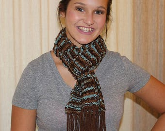 Turquoise & brown knitted scarf with fringe