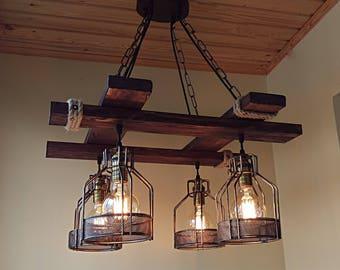 Rustic Light Fixture   Hanging Light   Rustic Lighting   Industrial Pendant  Light   Wood Chandelier