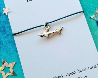 Shark Charm Bracelet, Handmade Shark Wish Bracelet