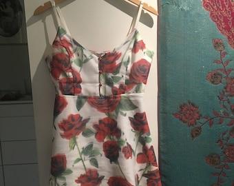 Thrift Floral Rose Print A-Line Tea Dress