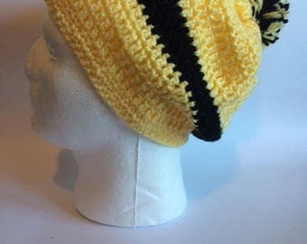 Lovely Yellow/Black Crochet beanie hat with slouch