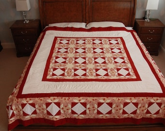 Magnificent Hand Made Traditional Patchwork Quilt, king size, double sided in red and gold. ENTIRELY hand stitched !