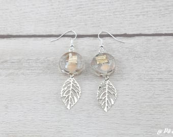 Earrings with gold leaf and glass #1131
