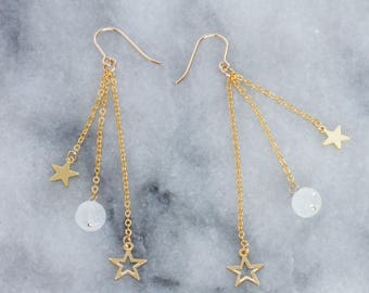 Moonstone and Stars Earrings, 14k Gold-filled Charms with Gold-filled Ear Wires