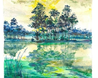 Magic Lake | Watercolor, Pencil, Ink, Yellow, Green, Pond, River, Trees, Outdoors, Nature, Peace, Calm, Painting, Drawing, Artwork