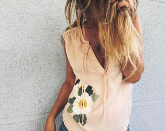 Handpainted Blouse with flowers for Woman Fashion