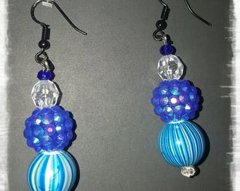 LID Enterprises, Hand Crafted Earrings, Blue
