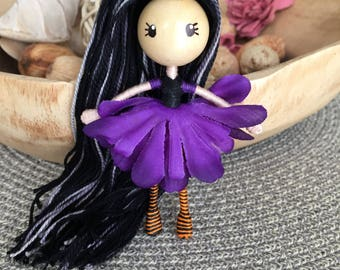 Halloween doll, bendy doll, flower fairy, miniature doll