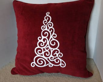 Christmas Tree  red and white glitter Pillow