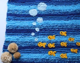 Fish themed baby blanket, ocean baby blanket, goldfish baby blanket, blue baby blanket, fish nursery wall decor, nursery decor, baby blanket