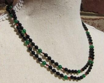 Onyx-Green Jade-Coral Wrap Necklace - Genuine Gemstones & Pure Silk Thread