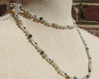 Matte Amazonite-Pearl-Wood Wrap Necklace - Genuine Gemstones & Pure Silk Thread