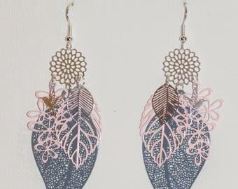 Leaves, pink, blue leaf earrings, pair of prints, fine jewelry