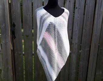 Handmade Poncho *Grey, white, pink *