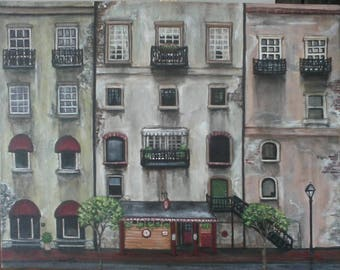 River Street, Savannah, Buildings, Architecture, Acrylics, Collection, Series