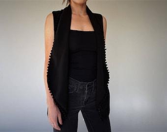 Carmen Steffens, Black Collared Pom Pom Vest