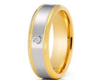 Men's Wedding Band Yellow Gold Wedding Ring 14k Yellow Gold Ring Diamond Wedding Band Milgrain