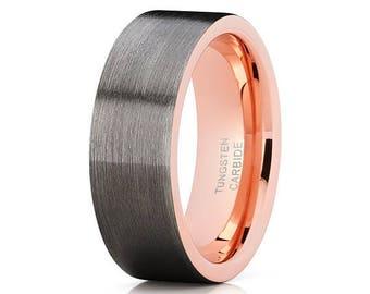 Grey Tungsten Wedding Band Rose Gold Tungsten Ring Tungsten Wedding Band Tungsten Carbide Ring Brush Black Ring