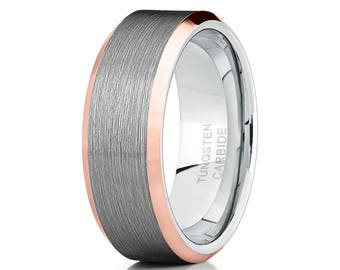 Grey Tungsten Wedding Bands Men & Women Tungsten Wedding Ring Anniversary Tungsten Ring Rose Gold Tungsten Beveled