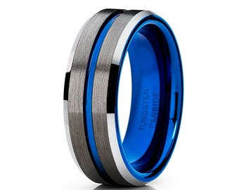 Gunmetal Wedding Band Blue Tungsten Carbide Ring Men & Women Black Tungsten Wedding Band Anniversary  Ring Comfort Fit