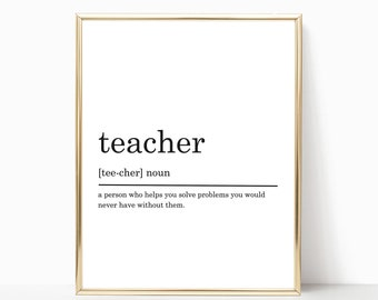 Teacher Definition Print, Funny Definition Print, Gift for Teacher, Teacher print, Teacher gift, Printable Poster, DIGITAL DOWNLOAD