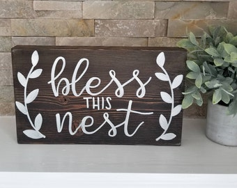 Bless This Nest | Wood Sign | Hand Painted | Home Decor |
