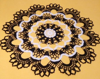 Round doily-crochet doilies-crochet doily-black doily-white doily-crochet tablecloth