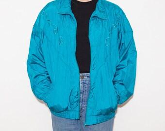Fresh Prince, Sportswear, 90s Windbreaker, Windbreaker, Green, Embroidery, Sport Jacket, Track Jacket, 90s Vintage, Retro Jacket, Kitsch