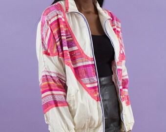 Kawaii, 90s Windbreaker, Kawaii Jacket, Sportswear, Vintage Windbreaker, Pink, Purple, White, 90s Baroque Jacket, Baroque 90s, Spring Jacket