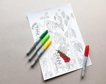 Garden coloring page Etsy