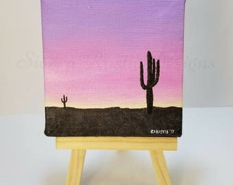 "MINI DESERT PAINTING w/ easel 3"" x 3"" Acrylic Paint Sunset painting Cactus painting Cactus Art Desert Art Rustic Decor Gift Desk Accessories"
