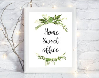 home sweet office, 8x10 printable, office decor, printable office decor, printable home decor, instant download, digital download