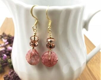 Agate Earrings, Agate Bead Earrings, Pink Agate Earrings, Agate Drop, Pink Earrings,Czech Bead Earrings, Boho Earrings, Gemstone Earrings