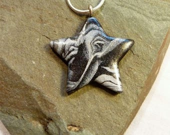 Black and Silver Marble Star Necklace