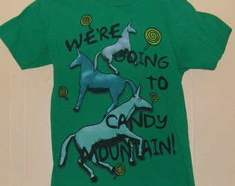 "1980 ""Were Going To Candy Mountain"" Unicorn  T-Shirt size adult Small 100% pre shrunk Cotton Green St Patricks Day pattys party Vintage tee"