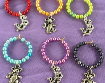 Grateful Dead Wine Glass Charms  Dancing Skeleton & Dancing Bear Wine Glass Charms