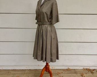 Vintage 50s Plaid Belted Dress by Westbury Fashion