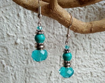 Earrings blue turquoise glass, woolite and metal