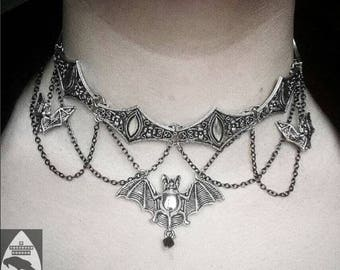 Ornate Silver Gothic Vampire Bat Metal Choker with Chain Detail & Adjustable Length