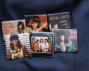 vintage bon jovi pins - set of 6