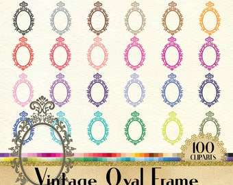 100 Vintage Oval Frame Clipart, Vintage Mirror Clipart, 100 PNG Clipart, Planner Clipart, Instant Download Clipart, Vintage Oval Mirror